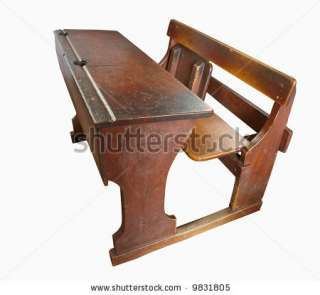 wooden school desk with a red antique wooden school desk