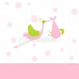 Baby girl arrival card Royalty Free Stock Vector Art Illustration