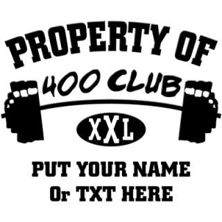 Property Of 400 Club XXL    400 Club Workout Shirt    T Shirts