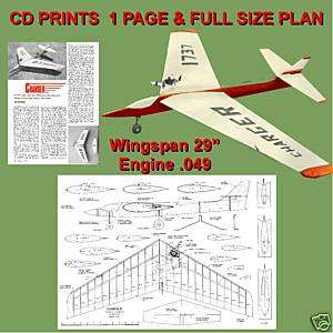 049 CONTROL LINE STUNT AIRPLANE PLANE NOTE & PLANS