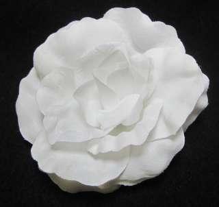 Bright White Rose Flower Hair Clip