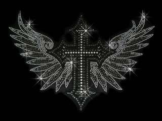 GOTHIC ANGEL WINGS RHINESTONE IRON ON TRANSFER HOT FIX