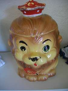 1950s Vintage Lion Cookie Jar, Made in Japan, with Red Crown and