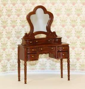 Artisan Hand Carved Walnut Ladies Vanity for the 112 scale miniature