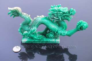 Stunning Dragon Statuary Green Statue Chinese Feng Shui