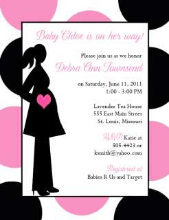 MODERN MOM PINK AND BLACK BABY SHOWER INVITATIONS!