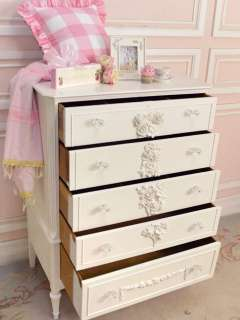 Shabby French Cottage Chic White Bedroom Dresser Highboy 5 Drawers
