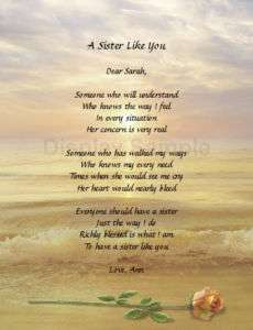Gift For Sister Personalized Poem For Sister Birthday Gift Idea