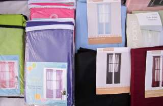 Sheer Curtain Panels x2Hot Pink Purple Green Blue Burgundy Tracy Room