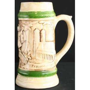 Vintage German Large Green Barware Ceramic Beer Stein