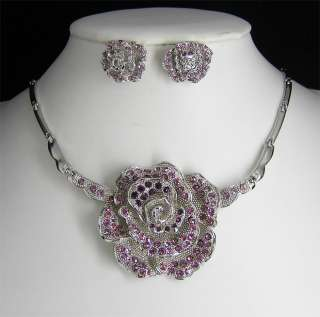 Wedding/Bridal crystal necklace earrings set S330