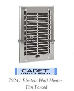 CADET 79241 ELECTRIC COMPACT BATHROOM WALL HEATER FAN FORCED STAINLESS
