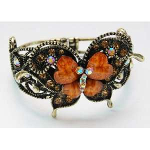 Inspired Orange Heart Love Topaz Crystal Rhinestone Butterfly Bracelet