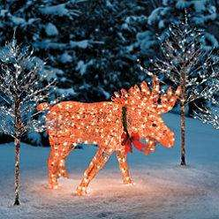 outdoor holiday christmas lighted animated moose yard art decoration