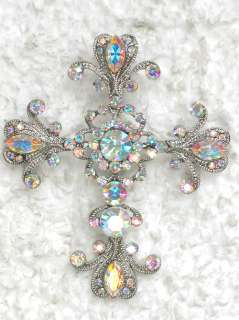 CLEAR AB RHINESTONE CRYSTAL CROSS PIN BROOCH pendant G250