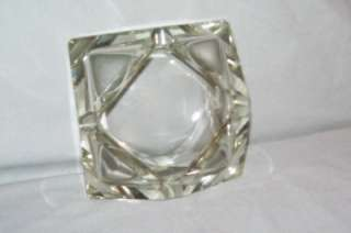 Clear Glass Ashtray Interesting Shape May be Lead Crystal