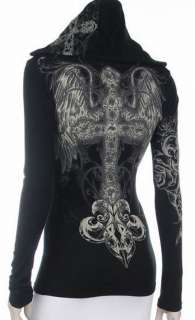 Cross Angel Wings Crystals Stones Tattoo Hoodie Tee T Shirt