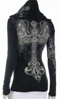 Cross Angel Wings Crystals Stones Tattoo Hoodie Tee T Shirt