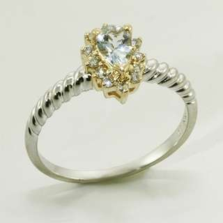 Yellow White Gold Pear Shape Aquamarine & Diamond Vintage Ring