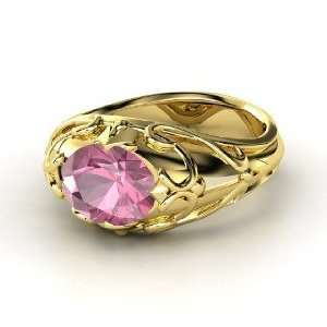 Hearts Crown Ring, Oval Pink Tourmaline 18K Yellow Gold Ring Jewelry