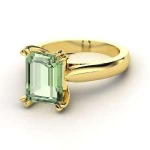 Ring, Emerald Cut Green Amethyst 14K Yellow Gold Ring Jewelry