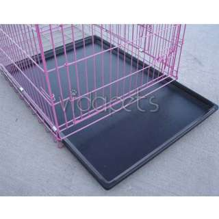 30 3 Door Pink Folding Dog Crate Cage Kennel Three 2