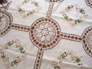 Hand Crochet Silk Embroidered Flower Table Cloth M