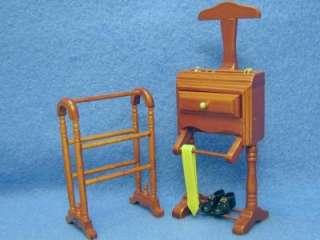 Dollhouse Miniature Heidi Ott Quilt Stand and Reutter Suit Butler