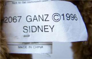 1996 GANZ 16 Brown Teddy Bear SIDNEY H2067 EXC
