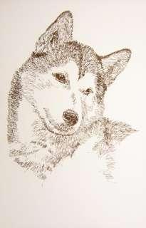 SIBERIAN HUSKY DOG ART Kline Signed Lithograph #159
