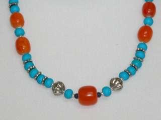 Tibetan Silver Jewelry Coral Yak Bone Beeswax Necklace