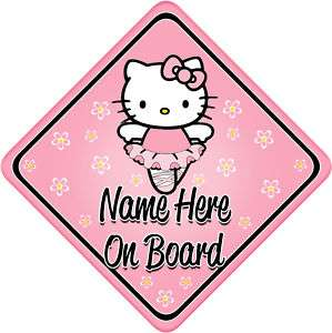 Hello Kitty Ballerina Baby/Child on Board Car sign Pers