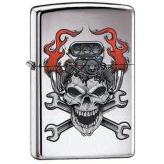 Motor Skull Hot Rod Chrome Zippo Lighter