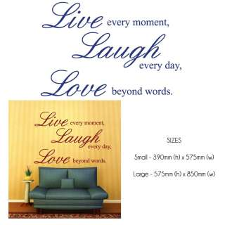 LIVE LAUGH LOVE Quote Wall Sticker Decal   Large