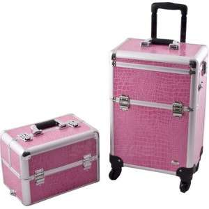 Pink PRO 4WD Aluminum Makeup Artist Rolling Train Case Cosmetic Beauty
