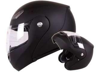 Matte Flat Black Modular Flip up Motorcycle Helmet DOT Approved