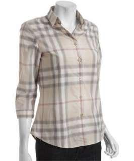 style #316399301 Burberry London light khaki nova check printed cotton