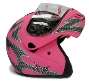 FLAT PINK FLIP UP FULL FACE MOTORCYCLE MODULAR HELMET~M