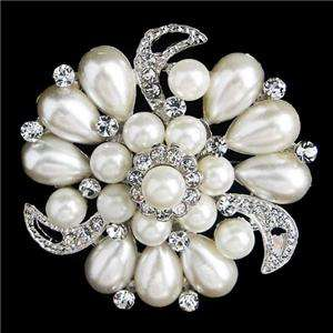 Bridal Pearl Flower Drop Brooch Pin Austrian Rhinestone Crystal VTG