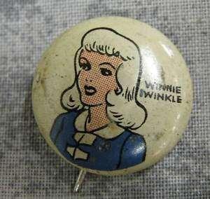 1945 Kelloggs Pep Pinback Pin Button Winnie Winkle