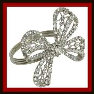 Crystal Diamond Bow Napkin Ring Rhinestones Set 4 Kitchen