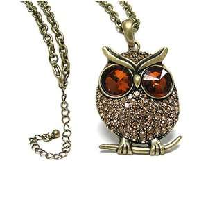 Golden Brown Crystal Big Eye Owl Pendant Necklace Fashion