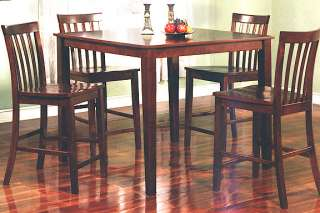 Piece Solid Wood Square Walnut Bar Table w/ 4 Side Chairs Dining Set
