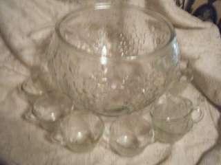 Vintage Indiana Glass~Celebration~Grape Punch Bowl Set~MIB