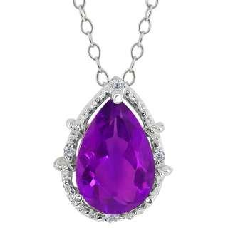62 Ct Pear Shape Purple Amethyst and Diamond Sterling Silver Pendant