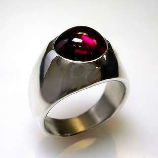 CUSTOM MENS RING, W/ A ROUND LAB GROWN RUBY IN STERLING SILVER