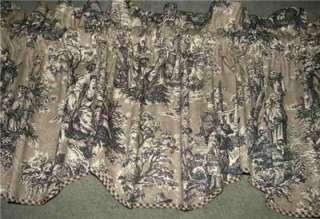 Scalloped VALANCE Curtain French Country Life Waverly Toile Black Sage