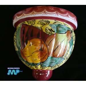 MEXICAN TALAVERA Ceramic Scone Wall Planter Pottery 10 (Fruits Design