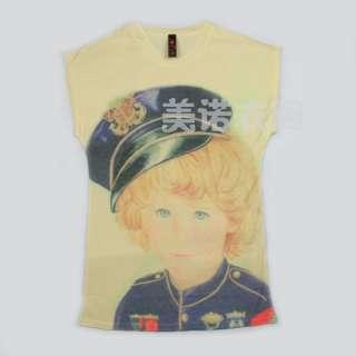 T1175 Unique Navy Little Boy T Shirt Top S
