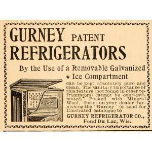 1896 Vintage Ad Antique Gurney Refrigerator Fond du Lac